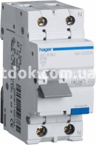 Дифференциальный автомат 2-п. AD866J C 16A/30mA 4,5kA АС Hager