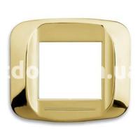 Рамка BANQUISE металлическая с подсветкой,  двухмодульная, латунь, AVE 45PB92OT