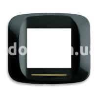 Рамка BANQUISE металлическая с подсветкой,  двухмодульная, чёрный, глянцевая, AVE 45PB92NL