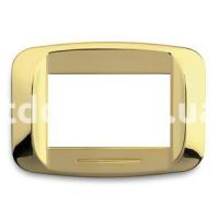 Рамка BANQUISE металлическая с подсветкой,  трехмодульная, латунь, AVE 45PB93OT
