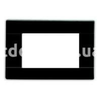 Рамка RAL  трехмодульная, чёрный, глянцевая, AVE 45P03NL