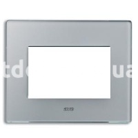 Рамка VERA трехмодульная, стекло матовое, серебристо-серый, AVE 45PV3GO