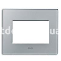 Рамка VERA трехмодульная, стекло, серебристо-серый, AVE 45PV3GL
