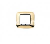 Рамка YES квадратная,  двухмодульная, латунь+чёрная вставка, AVE 45P22OT