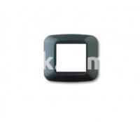 Рамка YES квадратная,  двухмодульная, тёмный металик, AVE 45P22GSM