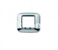 Рамка YES квадратная,  двухмодульная, хром+чёрная вставка, AVE 45P22CR