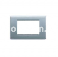 Рамка ZAMA металлическая,  трехмодульная, серебристый металик, AVE 45P93AM