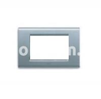 Рамка ZAMA металлическая,  четырехмодульная, серебристый металик, AVE 45P94AM