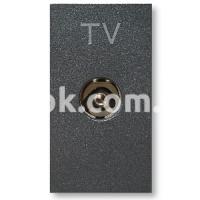 Розетка TV прямого включения 40-862 MHz, черный, AVE 45391