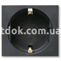 Розетка двухмодульная, 2P+E 16A 250v, чёрный, AVE 45390S