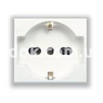 Розетка двухмодульная, универсальная, 2P+E 10/16A 250v, белый, AVE 45B90/15TS