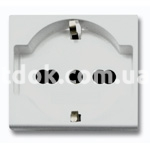 Розетка двухмодульная, универсальная, 2P+E 10/16A 250v, серый, AVE 45590/15TS